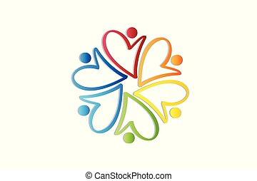 logo, miłosierdzie, teamwork, ludzie