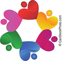 logo, miłosierdzie, wektor, teamwork, serca