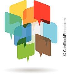 logo, mowy, przestrzeń