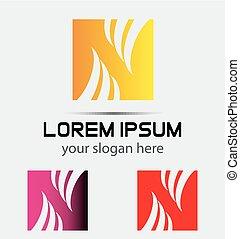 logo, n, skwer, litera, ikona