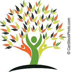 logo, natura, zdrowie, drzewo, ludzie