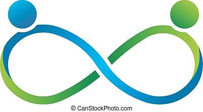 logo, nieskończoność, wzmacniacz, teamwork