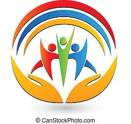 logo, połączenie, teamwork, siła robocza