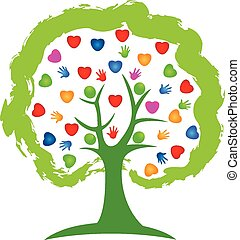 logo, pojęcie, drzewo, serca