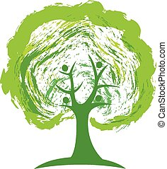 logo, pojęcie, zielone drzewo, ludzie