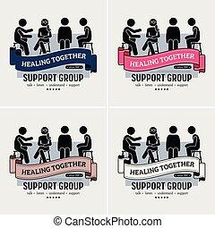 logo, poparcie, środek, grupa, design.