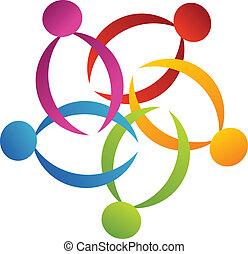 logo, poparcie, 2, teamwork, kwiat