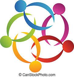 logo, poparcie, kwiat, teamwork, 3