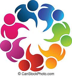 logo, poparcie, teamwork
