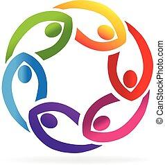 logo, poparcie, teamwork, ludzie