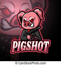 logo, projektować, świnia, esport, maskotka