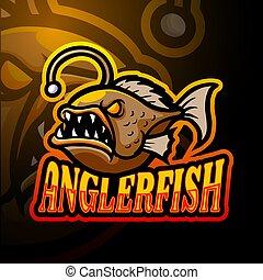 logo, projektować, esport, anglerfish, maskotka