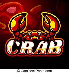 logo, projektować, esport, krab, maskotka