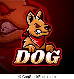 logo, projektować, esport, maskotka, pies