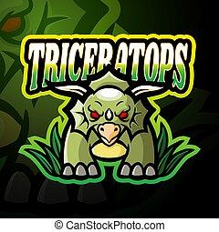 logo, projektować, esport, triceratops, maskotka