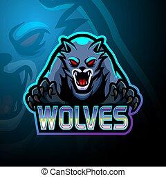 logo, projektować, esport, wolves, maskotka