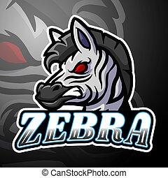 logo, projektować, esport, zebra, maskotka