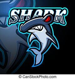 logo, projektować, maskotka, esport, rekin