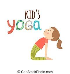 logo, projektować, odizolowany, dzieciaki, yoga