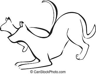 logo, projektować, pies, kot