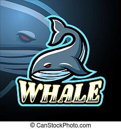 logo, projektować, wieloryb, esport, maskotka