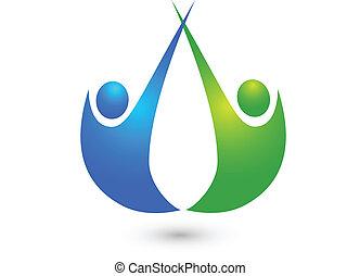 logo, przyjaciele, handlowy zaludniają