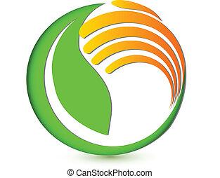 logo, ręka, środowiskowy, broniąc