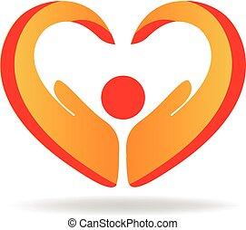 logo, ręka, miłość, ludzie, serce