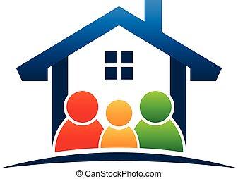 logo, rodzina, dom