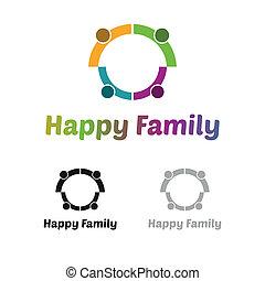 logo, rodzina, szczęśliwy