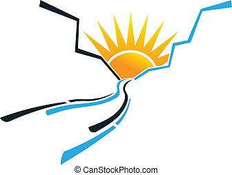logo, słońce, wizerunek, kanion, ciągnąć