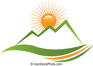 logo, słoneczny, góra