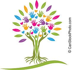 logo, serca, drzewo, barwny, siła robocza