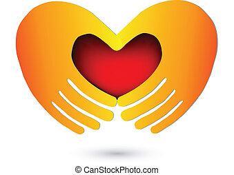 logo, serce, czerwony, siła robocza