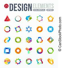 logo, set., elementy, projektować, ikona