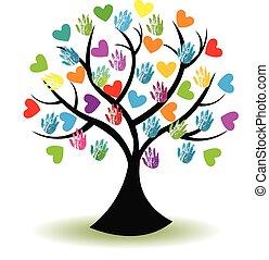 logo, siła robocza, drzewo, serca