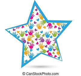 logo, siła robocza, gwiazda, dzieci