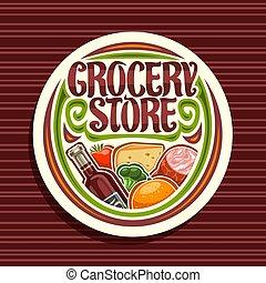 logo, sklep spożywczy, wektor, zaopatrywać