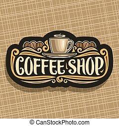 logo, sklep, wektor, kawa
