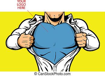 logo, skrzynia, superhero, twój