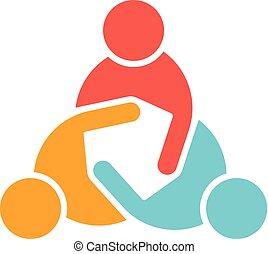 logo, spotkanie, handlowy zaludniają