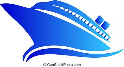 logo, statek, albo, rejs