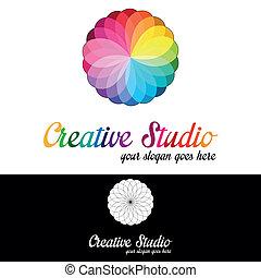 logo, studio, szablon, twórczy