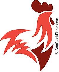 logo, styl, kogut, płaski
