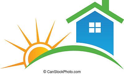 logo, styl, słońce, dom