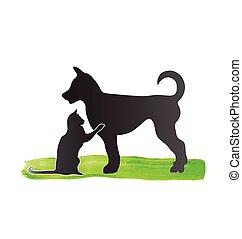 logo, sylwetka, pies, kot