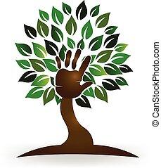 logo, symbol, drzewo, ręka