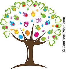 logo, symbol, serca, drzewo, siła robocza