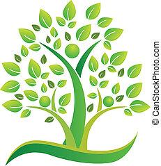 logo, symbol, teamwork, drzewo, ludzie