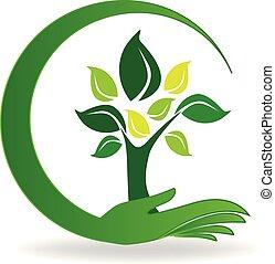 logo, symbol, troska, drzewo, ręka